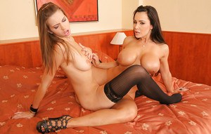 Mature vixen and her younger lesbian friend licking and scissoring each other