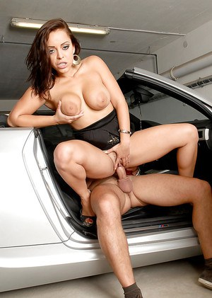 Big busted european vixen has some hardcore fun with a stiff dick in the car
