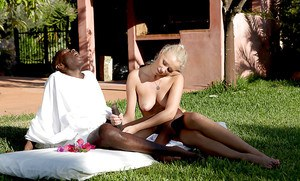 Sultry blondie gets her tight holes stretched by a huge black boner outdoor