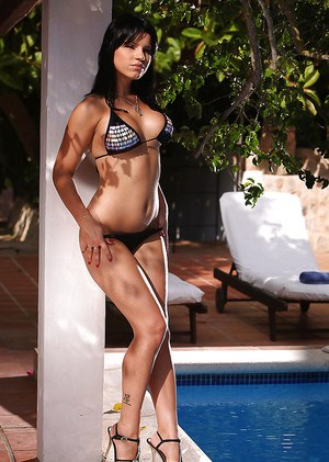 Sassy european hottie in bikini revealing her tits and inviting pussy