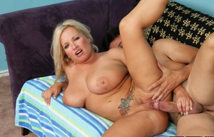 Curvy mature blonde slut gets shagged and exposes her creampied pussy