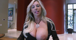 Hot housewife in glasses revealing her big boobs and inviting pussy
