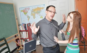 Skinny bookworm in glasses seduces her prof to play with his stiff dick