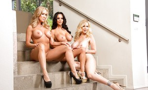 Three gorgeous mature vixens have some stripping and humping fun