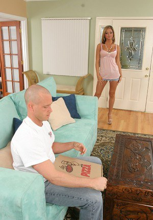 Slutty MILF blows and fucks a pizza guy's big boner for cum on her tongue