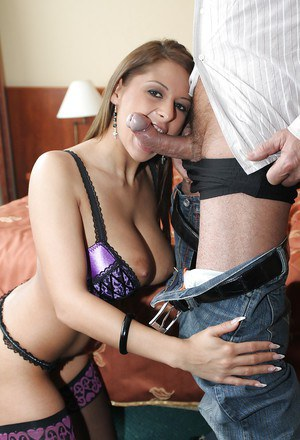 Gorgeous european vixen in stockings gets anally crashed for cum in her mouth