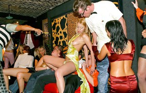 Lewd european MILFs enjoy a wild fully clothed sex orgy at the drunk party