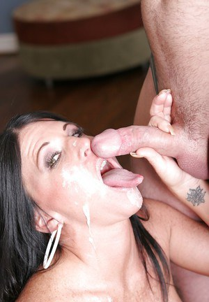 Juggy slut squirts hard during twatting and takes acum on her tongue after