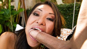 Lustful asian vixen gobbles and fucks a huge shaft until she squirts hard