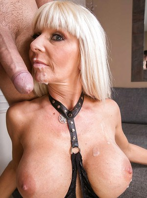 Lustful MILF in fetish outfit blows and fucks a big boner for a facial cumshot