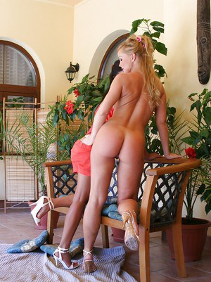 Stunning blonde and brunette ladies make some lesbian humping action