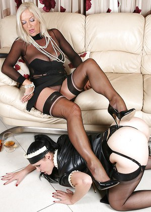 Wooing mature lady has some fetish femdom fun with her maid
