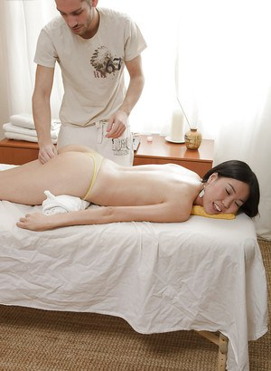 Frisky asian girl with slippy curves gets fucked after a sensual massage