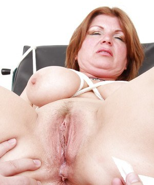 Filthy mature gal with massive jugs gets examed by dirty-minded gyno