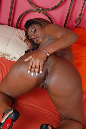 Nude ebony sugar demonstrating her fuckable curves on the bed