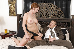 Top-heavy tattooed MILF gets seduced and fucked by her hung office mate