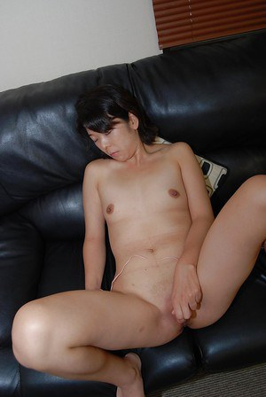 Shy asian MILF with tiny tits getting nude and vibing her shaved gash