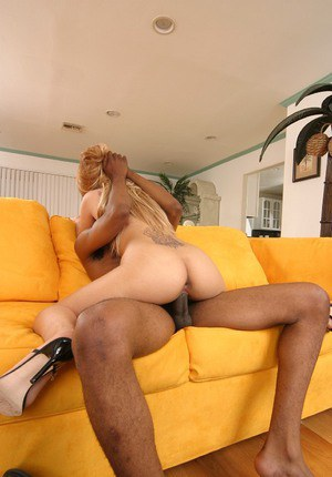 Lusty girl fucks a huge black shaft and gets her mouth full of cum