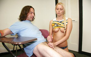 Lustful cheerleader with pigtail gets tricked into handjob action