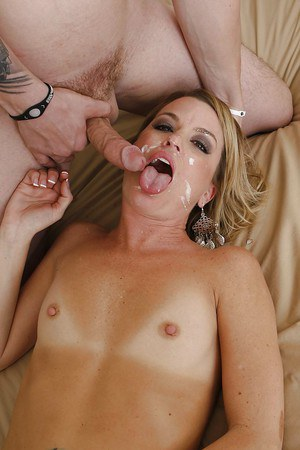 Slippy blonde MILF gets shagged tough and jizzed over her face