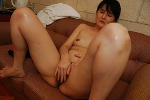 Shy asian MILF getting naked and vibing her unshaven cooter