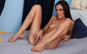 Naughty amateur with sexy soles undressing and rubbing her pierced clit