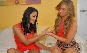 Nasty blondies have a sensual lesbian threesome with their brunette friend