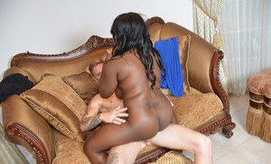 Rubenesque ebony slut fucks a white dick and gets jizzed over her butt