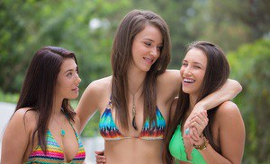 Three jaw-dropping sexy brunette hotties getting rid of their fancy bikinis
