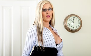 Blonde temptress in glasses taking off her panties and teasing her pussy