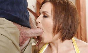 Juggy MILF with amazing eyes enjoys tough twatting and gets facialized