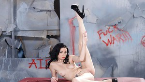 Tattooed brunette with pale skin undressing and showcasing her pink gash