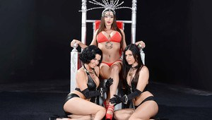 Three steaming hot fetish MILFs make some posing and humping action