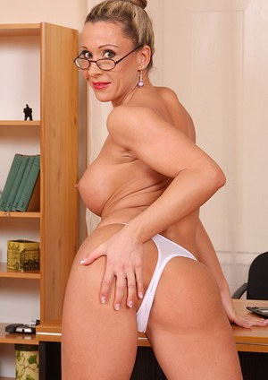 Curvy office lady in glasses undressing and exposing her cunt in close up