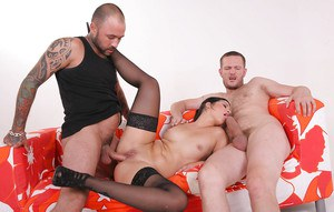 Lewd european fox in nylons gets her asshole stretched with two thick boners