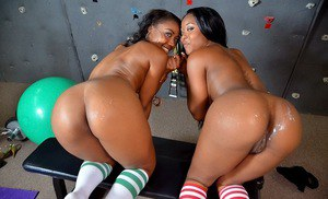 Bootylicious ebony hotties in knee socks have a threesome with a hung lad