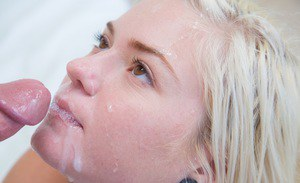 Sassy blondie gets anally fucked by a hung lad for cum on her lips