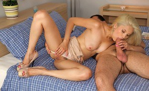 Bosomy blonde amateur blows and fucks a stiff dick for jizz on her face