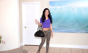 Sassy teen taking off her leopard leggings and caressing herself