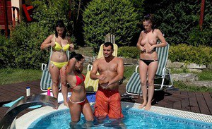 Seductive european sugars have some humping fun at the pool party