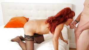 Juggy redhead mature slut in stockings gets her shaved twat banged hard