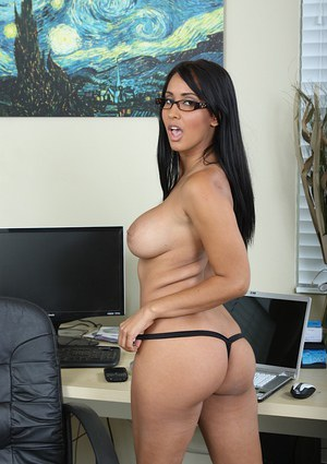 Big busted MILF in glasses undressing and toying her trimmed pussy