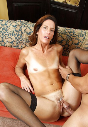 Mature mom with tiny tits gets a big dick in her hairy twat