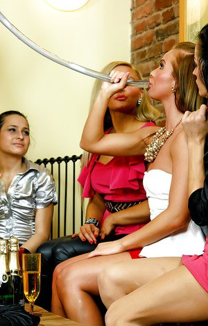 Naughty chicks have some partly clothed lesbian fun at the drunk house party