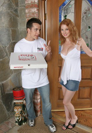 Busty redhead slut fucks a big pizza-guy's cock for cum in her mouth