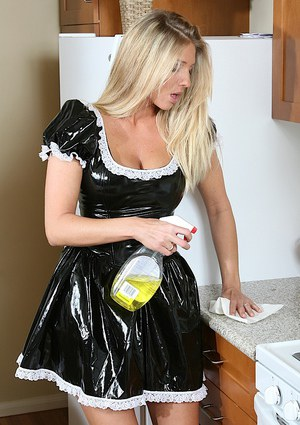 Ravishing maid taking off her latex uniform and exposing her pink gash