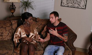 Ebony masseuse gives a soapy massage and a sensual blowjob to a white guy