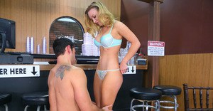 Immensely blonde waitress seduces her client and plays with his hard dick