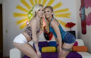 Playful blondies in shorts undressing and exposing their amazing fannies