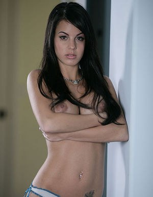 Frolic brunette hottie revealing her round boobies and neat fanny